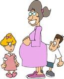 pregnant mom & kids poster