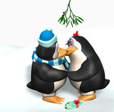 penguins kissing under the mistletoe poster