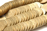 stacks and rows of gold coins poster