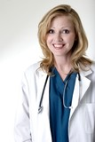 stock photo of happy lady doctor poster