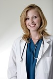 stock photo of friendly lady doctor poster