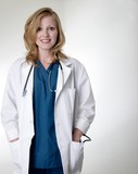 lady doctor wearing lab coat poster