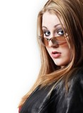 pretty young girl wearing sunglasses poster