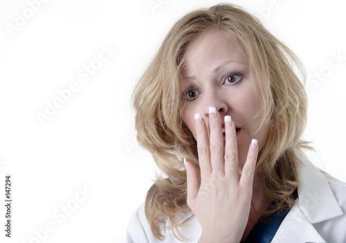poster of lady doc with hand covering mouth