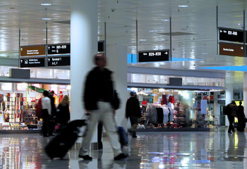 walking in an airport