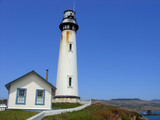 lighthouse at pigeon point, california poster