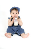 baby with a milk bottle poster