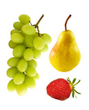 grapes, pear, strawberry poster