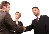 business people - promotion - hand shake poster