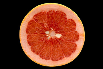 grapefruit isolated on black background with clipp