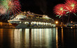 cruise boat at night with fireworks - 154856