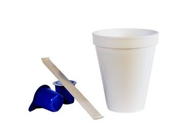 styrofoam coffee cup & creamer