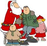 kids around santa poster