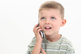 four year old boy speaking on cellphone poster