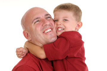 stock photography: son hugging dad around the neck