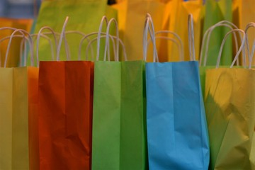 bright colored paper bags