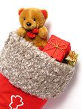 christmas stocking full of presents poster