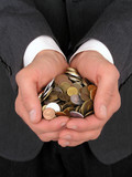 businessman holding coins poster