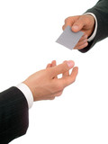 businessman offering his business card poster