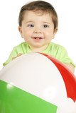 baby and beach ball poster