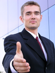 businessman ready to shake hands