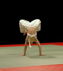 judo boy walking on hands