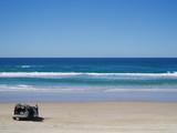 four wheel drive car at beach poster