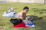 college student studying outside poster