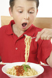 child eating spaghetti poster