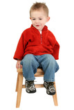 adorable one year old boy sitting on step stool poster