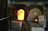 blowing glass and hot furnace poster