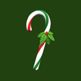 candy cane with holly 1 poster
