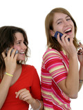 two girls using mobile phones poster