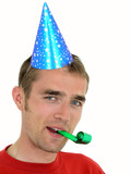 man wearing a party hat poster
