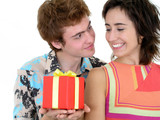 young man offering present to girlfriend poster