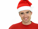 man wearing a christmas hat poster