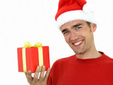 man wearing a christmas hat holding present poster