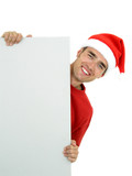 man wearing christmas hat holding white card poster