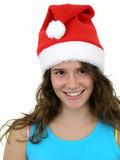 girl wearing christmas hat poster