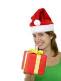 girl offering christmas present poster