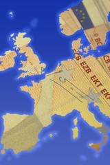 map of europe on euro money