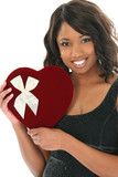 beautiful african american woman with velvet heart poster
