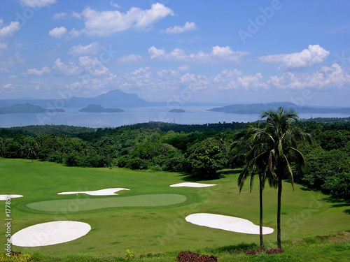 golf course on lake taal