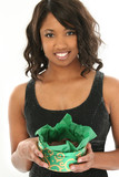 beautiful african american woman with box of choco poster