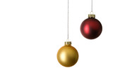 zwei christbaumkugeln, gold und rot poster
