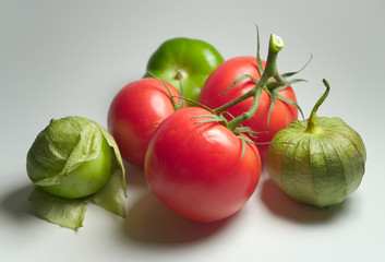 tomatillos and tomatoes