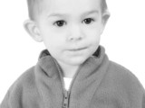 adorable one year old boy in black and white poster