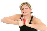 young woman struggling with hand grips poster