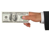 businessman's hand holding one hundred dollar bill poster