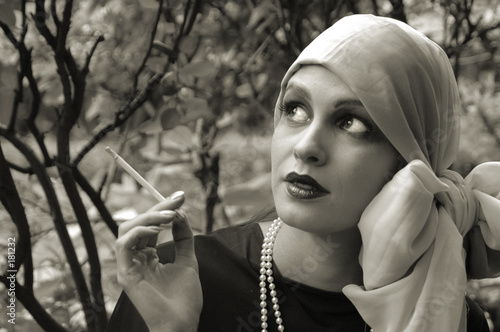 smoking retrogirl - black and white